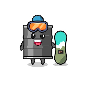 Illustration des ölfasscharakters mit snowboarding-stil, süßes design