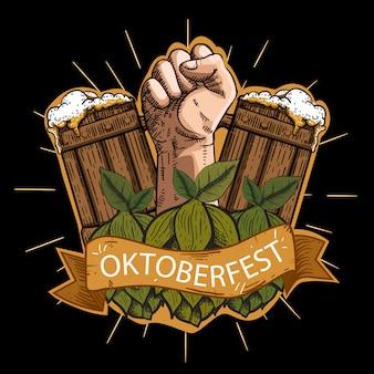 Illustration des oktoberfestes mit gravurart