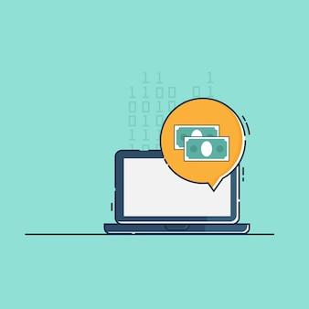 Illustration des on-line-geldes mit flachem design des laptopvektors