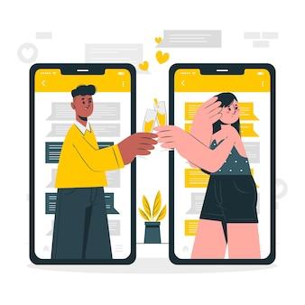 Illustration des online-dating-konzepts