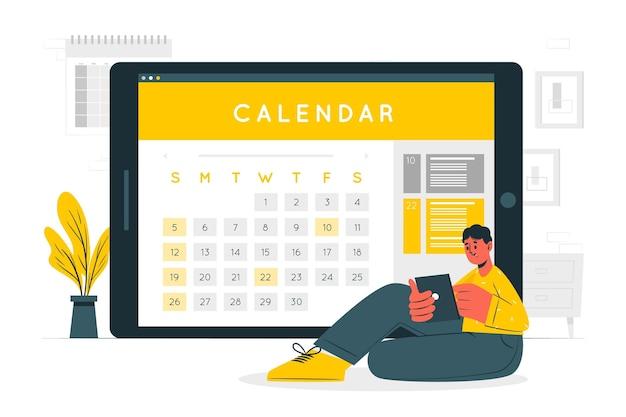 Illustration des online-kalenderkonzepts
