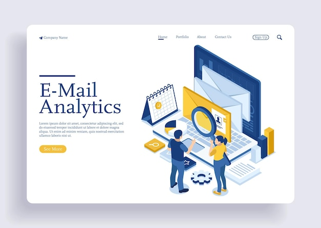 Illustration des online-marketings per e-mail-online-support mit dem konzept der isometrischen