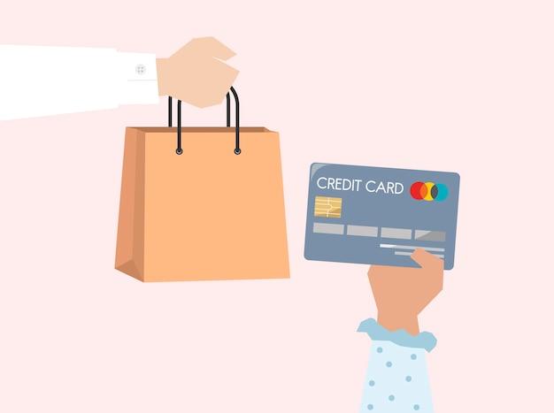 Illustration des onlineeinkaufs mit kreditkarte