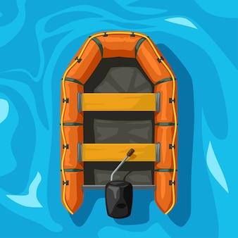Illustration des orange aufblasbaren bootes auf der ansicht des blauen wassers von oben