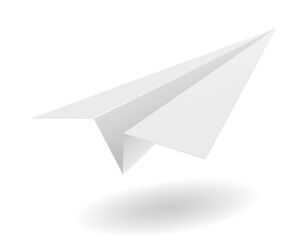 Illustration des origami-papierflugzeugs auf weißem hintergrund