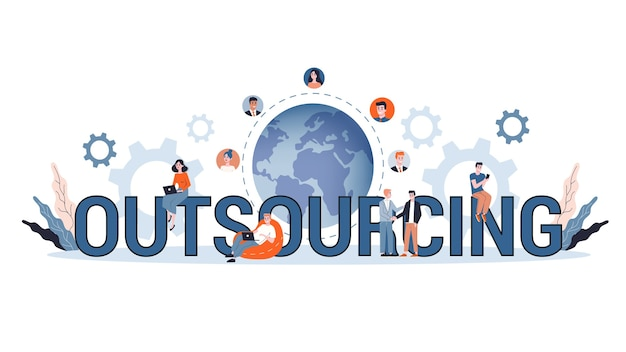 Illustration des outsourcing-konzepts. idee von teamwork und investition.