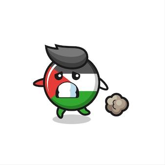 Illustration des palästina-flaggenabzeichens, das in angst läuft, niedliches design für t-shirt, aufkleber, logo-element