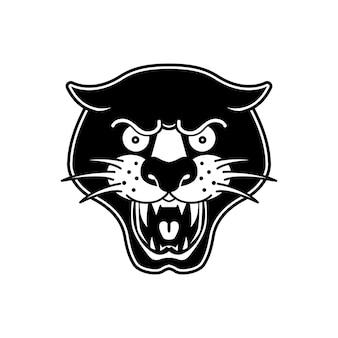 Illustration des pantera-kopfes auf weißem hintergrund. gestaltungselement für logo, label, emblem, schild, poster, t-shirt.