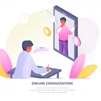Illustration des patientenmannes, der mit dem arzt vom videoanruf im smartphone an der klinik für online-konsultation spricht.
