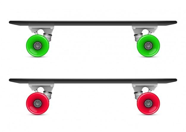 Illustration des penny skate boards mit roten und grünen rädern