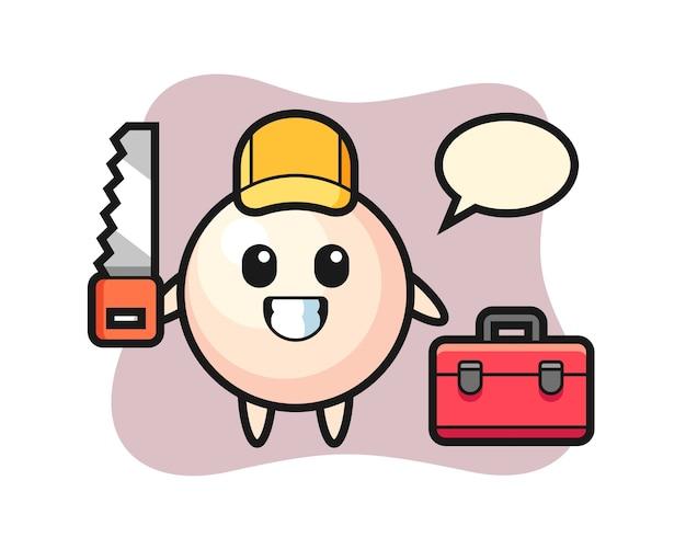Illustration des perlencharakters als holzarbeiter