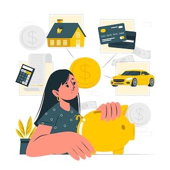 Illustration des persönlichen finanzkonzepts