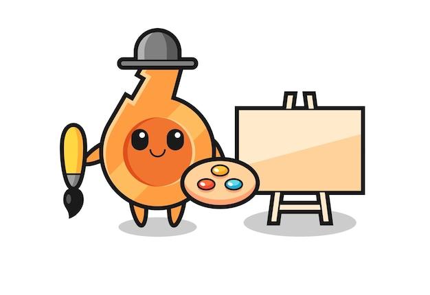 Illustration des pfeifenmaskottchens als maler, süßes design
