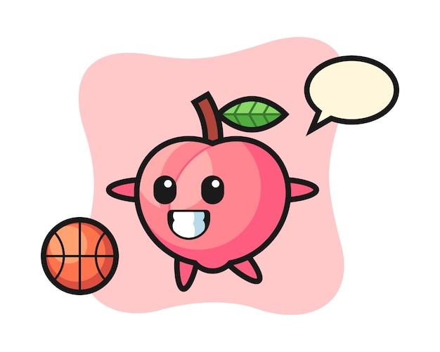 Illustration des pfirsichkarikatur spielt basketball, niedliche artentwurf für t-shirt