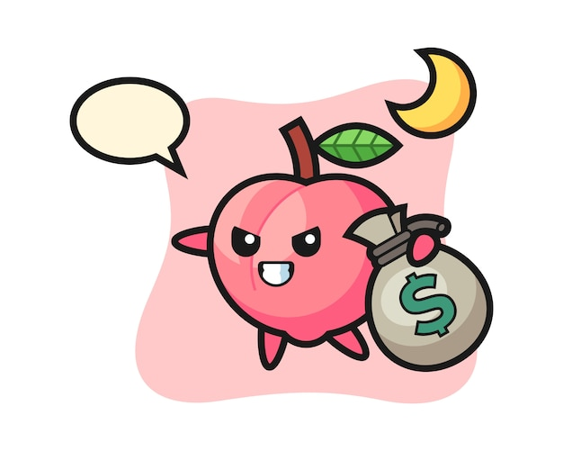 Illustration des pfirsichkarikatur wird das geld gestohlen, niedlicher stilentwurf für t-shirt