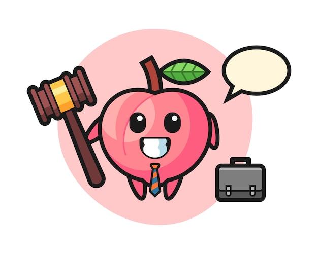 Illustration des pfirsichmaskottchens als anwalt, niedliche artentwurf für t-shirt