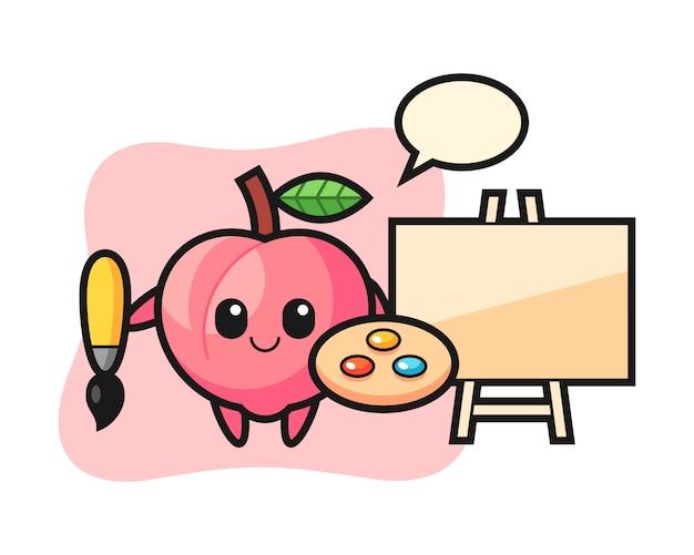 Illustration des pfirsichmaskottchens als maler, niedlicher stilentwurf für t-shirt