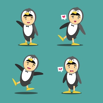 Illustration des pinguinkostümcharakterdesigns
