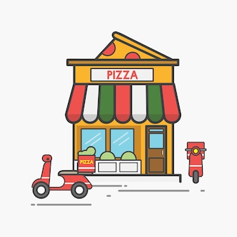 Illustration des pizzavektorsatzes