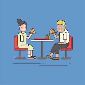 Illustration des pizzavektorsatzes