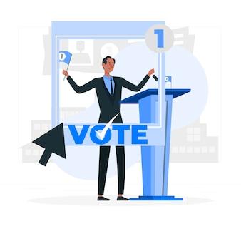 Illustration des politischen kandidatenkonzepts
