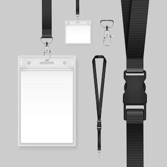 Illustration des professionellen ausweises schablonenausweishalter auf schwarzen lanyards