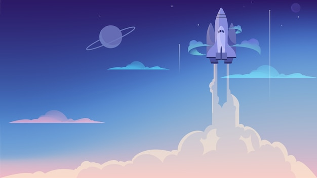 Illustration des raketenstarts. wirtschaft und wissenschaft. start-up, moderne technologie, raumfahrt und wissenschaftliche forschung.