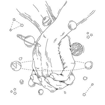Illustration des raumes für hände