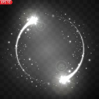Illustration des realistischen fallenden kometen isoliert. sternschnuppenmeteor mit schwanz