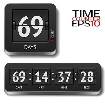 Illustration des realistischen flip-timers isoliert auf weiß. alle nummern enthalten