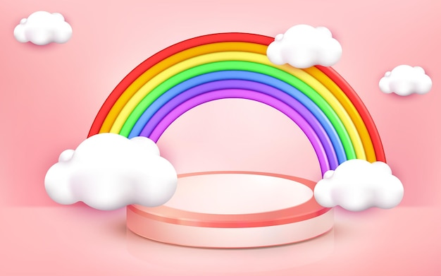 Illustration des regenbogendesigns für kinderzoneneckhintergrund auf 3d-cartoon-stil