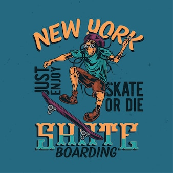 Illustration des reggae-mannes auf skateboard
