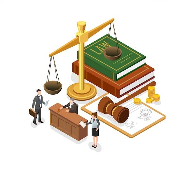 Illustration des richters hört auf anwalt und staatsanwalt.