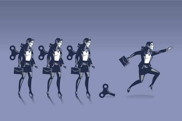 Illustration des roboterartigen geschäftsmannes, der frei von kontrolle läuft. geschäftsillustrationskonzept der geschäftsmannfreiheit