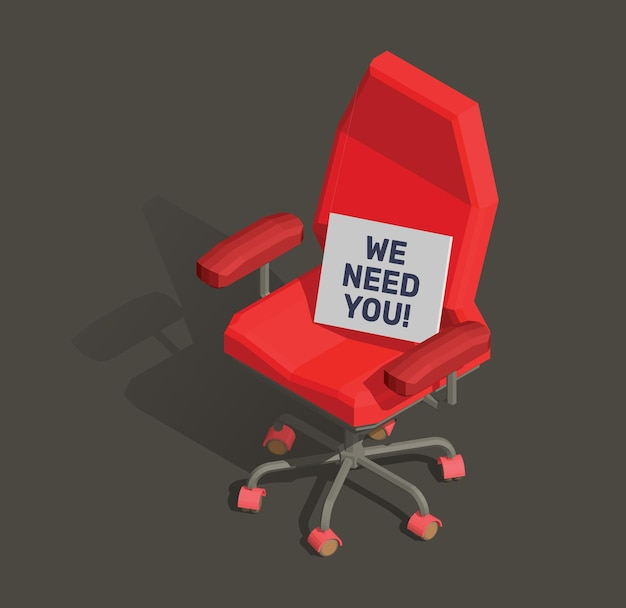 Illustration des roten büro-sessels mit texttafel
