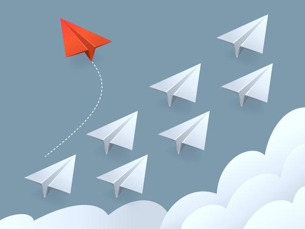 Illustration des roten flugzeugs im minimalistischen stil, das die richtung ändert, und der weißen.