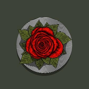 Illustration des roten rosenblumen-gravur-stils