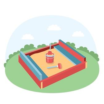 Illustration des sandkastens mit kinderschaufel, rechen und babyeimer mit sand