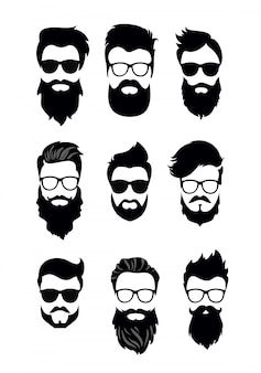 Illustration des satzes der bärtigen männergesichter, der hipster mit verschiedenen haarschnitten, der schnurrbärte, der bärte. silhouetten männer haarschnitte flachen stil.
