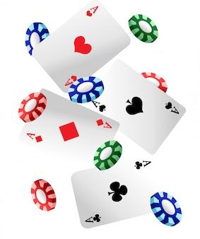 Illustration des satzes von kasinosymbolen auf isolierter weißer hintergrundillustration