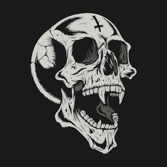 Illustration des schädelkopfes mit rissdetailentwurf