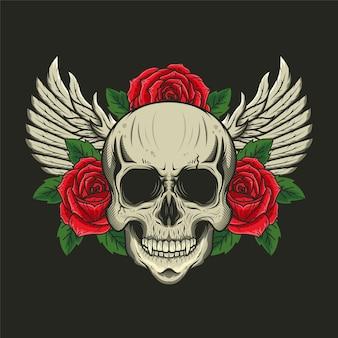 Illustration des schädelkopfes mit rosen und flügeln detailliertes design