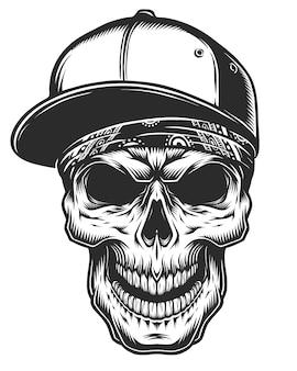 Illustration des schädels im kopftuch und in der baseballkappe