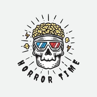 Illustration des schädels mit popcorn-haaren mit brille auf weißem hintergrund