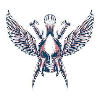Illustration des schädels spartanisch mit schwertern