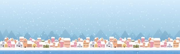 Illustration des schneebedeckten stadtfahnenentwurfs