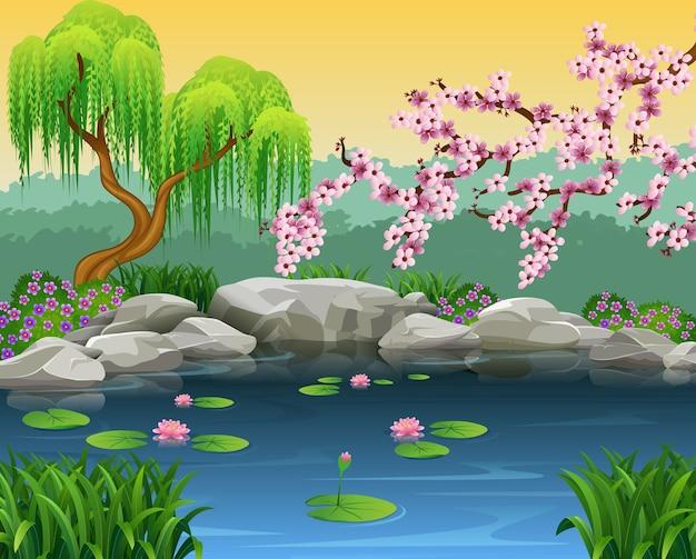 Illustration des schönen naturhintergrundes