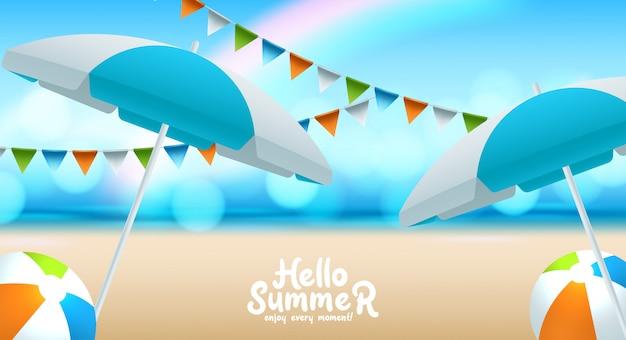 Illustration des schönen sommerstrandplakathintergrundes.