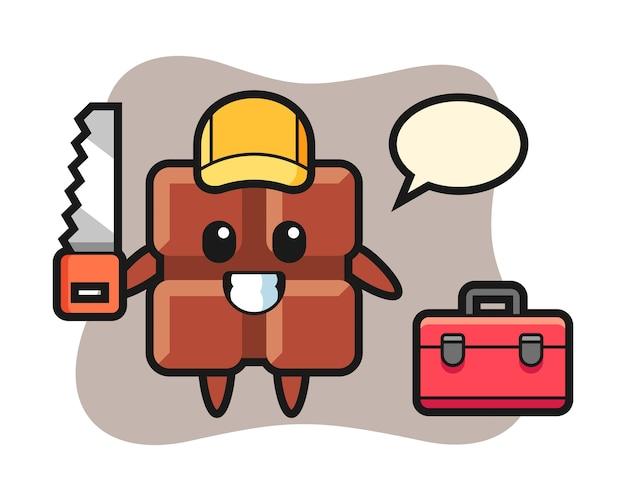 Illustration des schokoriegelcharakters als holzarbeiter, niedlicher kawaii stil.