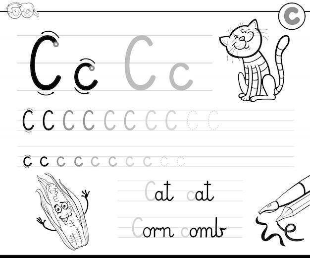 Illustration des schreibens-arbeitsbuches mit buchstaben c für kinder